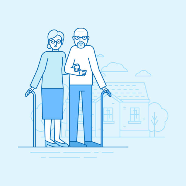 ilustrações de stock, clip art, desenhos animados e ícones de vector flat linear illustration in blue colors - happy grandparents - casa reforma