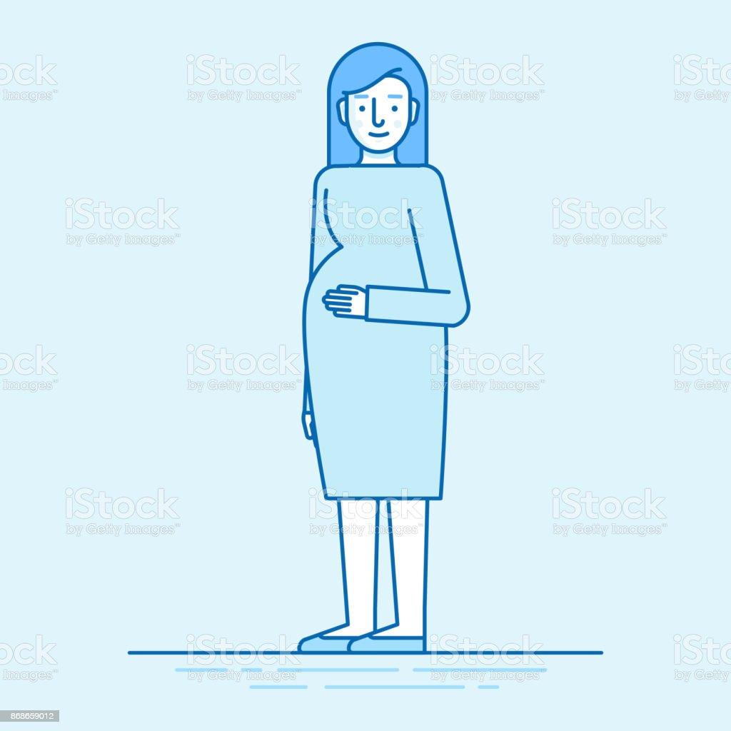 ベクトル平面線形図の青の色 - 幸せな妊娠中の女性 ベクターアートイラスト