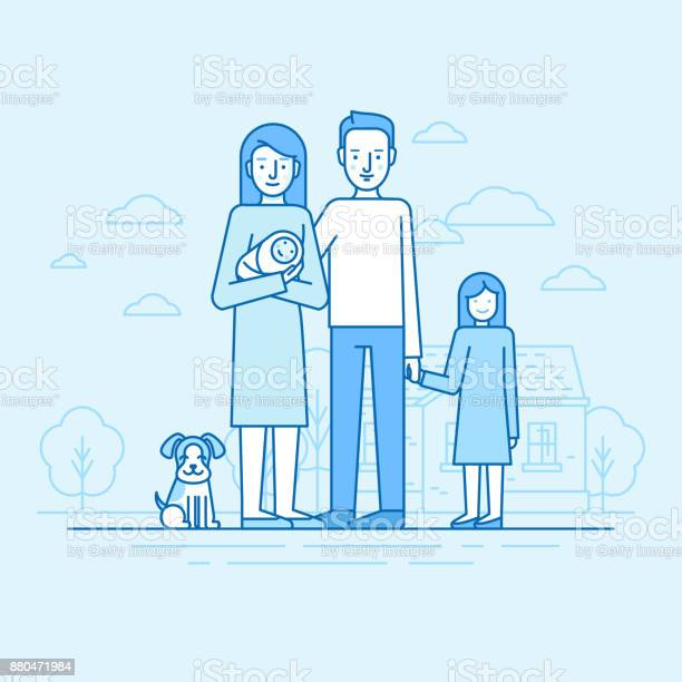 Vector flat linear illustration in blue colors happy young family vector id880471984?b=1&k=6&m=880471984&s=612x612&h=luhkh8bbosiatldrctmeiigs2uxlcz0i8bozwy9n38o=