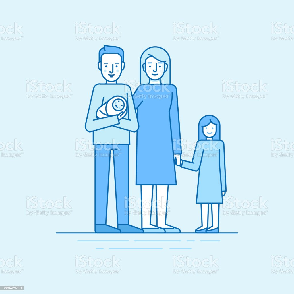 Vector flat linear illustration in blue colors - happy young family vector art illustration