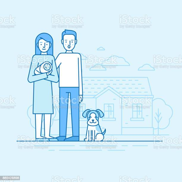 Vector flat linear illustration in blue colors happy young family vector id885426898?b=1&k=6&m=885426898&s=612x612&h=idjgfxb nmv0akohrmjkh3tk7nmhel3qclavc yiwb8=
