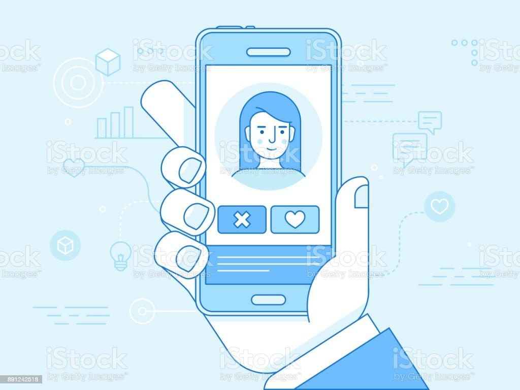 Vector flat linear illustration in blue colors  - online dating app concept vector art illustration