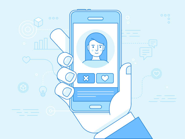 Vector flat linear illustration in blue colors  - online dating app concept Vector flat linear illustration in blue colors  - online dating app concept - mobile phone with application on the screen - man and woman searching for love and relationship dating stock illustrations