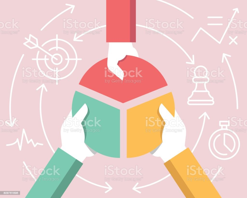 Vector Flat Linear Illustration Related of Communication, Relationship of Stakeholders, Partnership and Team Work Vector Flat Linear Illustration Related of Communication, Relationship of Stakeholders, Partnership and Team Work Responsibility stock vector