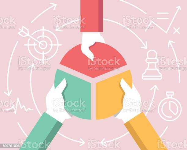Vector Flat Linear Illustration Related Of Communication Relationship Of Stakeholders Partnership And Team Work Stock Illustration - Download Image Now