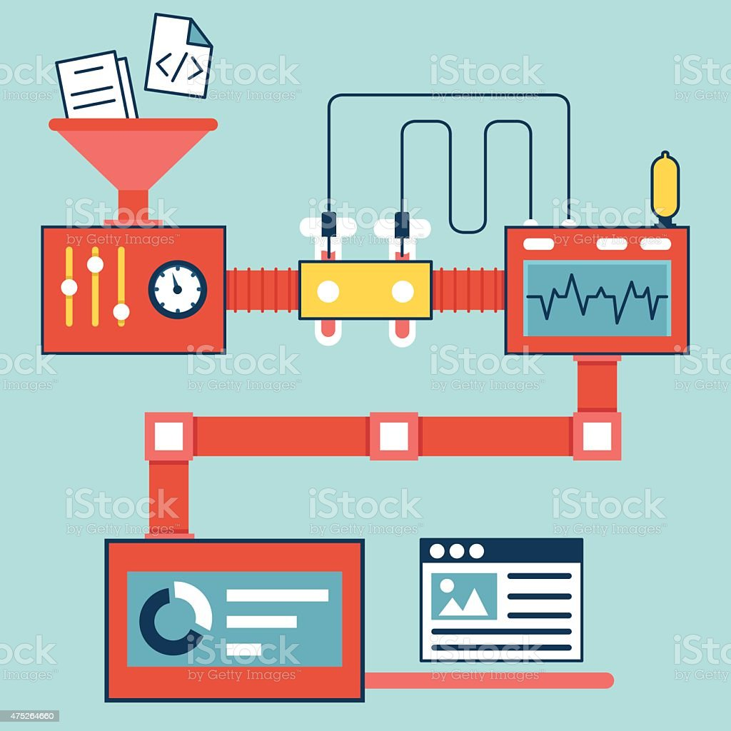 Vector Flat Linear Infographics Of Creating And Optimization Website ...
