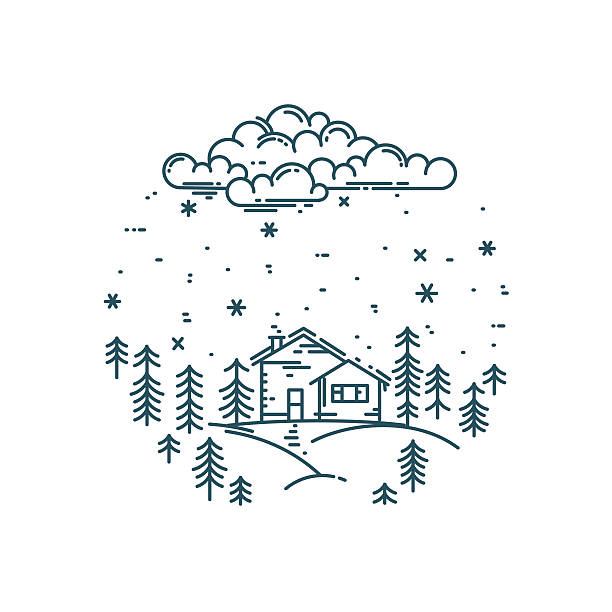 vector flat linear winter landscape in round composition. - log cabin stock illustrations, clip art, cartoons, & icons