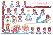 vector flat Little Princess set