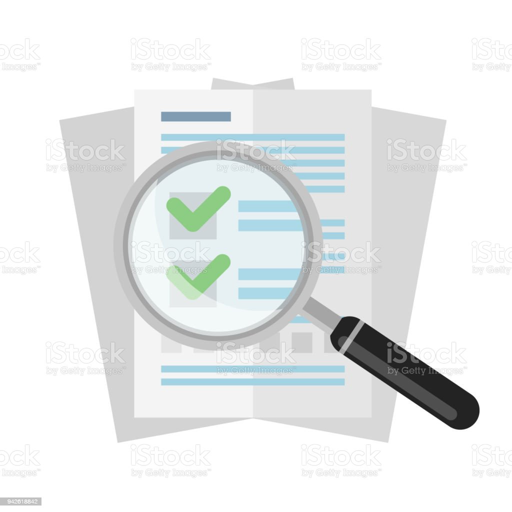 Vector flat magnifier over business documents or agreements isolated on white background royalty-free vector flat magnifier over business documents or agreements isolated on white background stock illustration - download image now