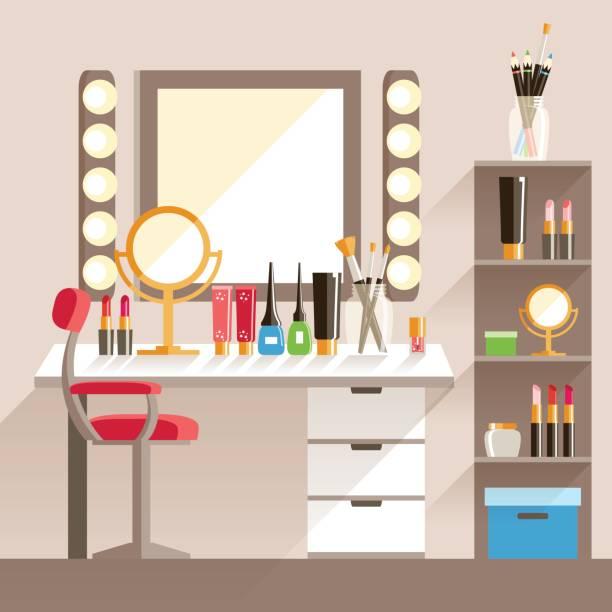 bildbanksillustrationer, clip art samt tecknat material och ikoner med vector platt makeup arbetstagarens arbetsplats. spegel, dekorativa cosmet - makeup artist