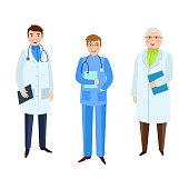 vector flat male doctors characters set