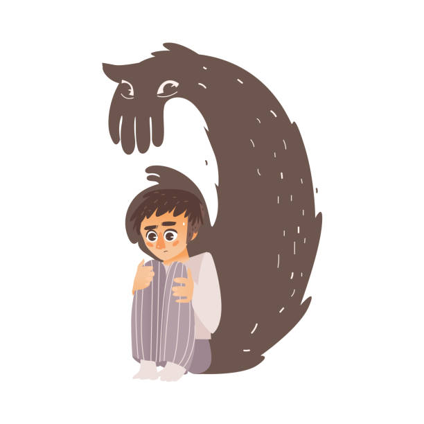 vector flat man suffering from depression, fear vector art illustration