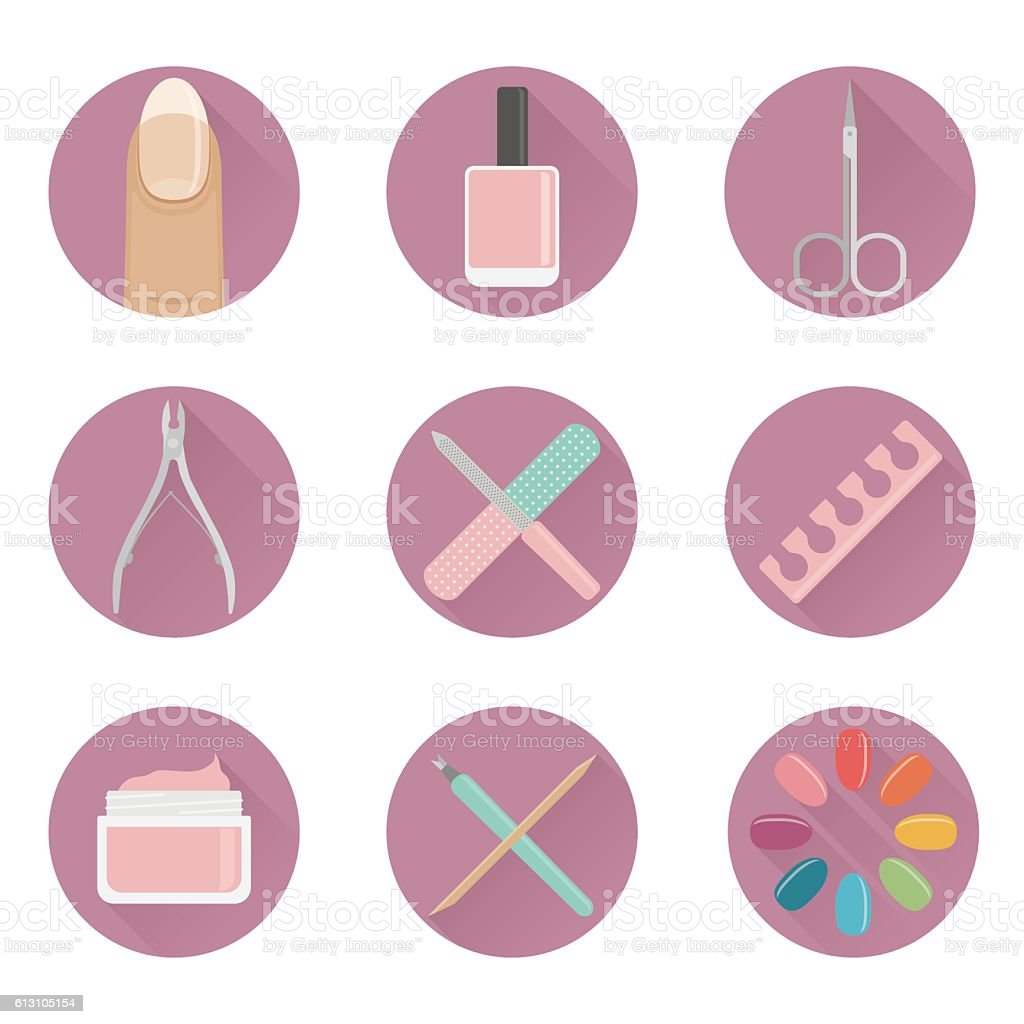 vector flat manicure nails and tools vector art illustration