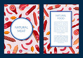 Vector flat meat and sausages icons card or flyer template illustration. Web banner or poster