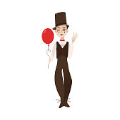 vector flat mime clown in top hat with balloon