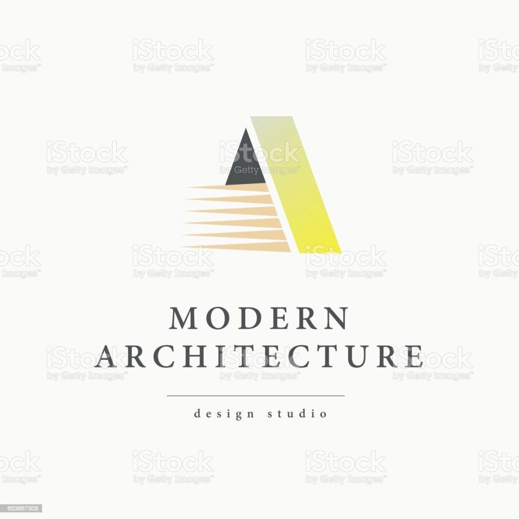 フラットな近代的な建築家のスタジオのベクトルのロゴ ベクターアートイラスト