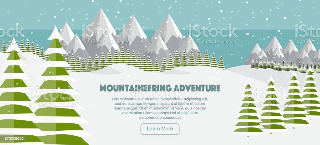 Vector flat mountains panoramic illustration. Mountaineering adventure winter banner, web design. High mountains, fir trees, ski trail, snowfall. Alps, wide panoramic background. vector art illustration