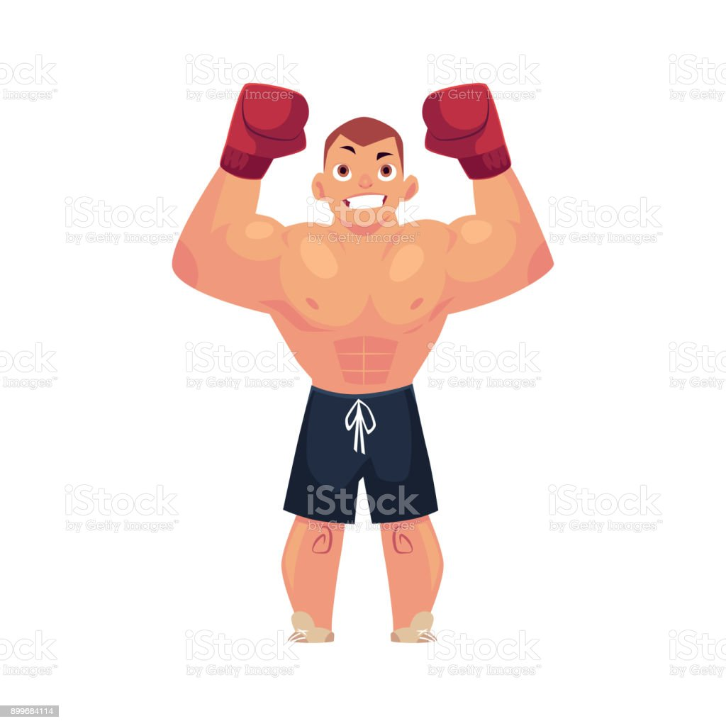 Vektor Flachen Muskulösen Hübscher Boxer Mann Vektor Illustration ...