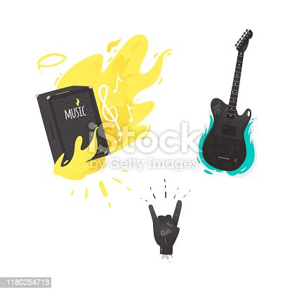 Vector flat music symbols set. Guital amplifier, louspeaker burning with yellow fire, electric guitar, hand rock gesture. Heavy metal, hard classic punk rock culture. Isolated illustration