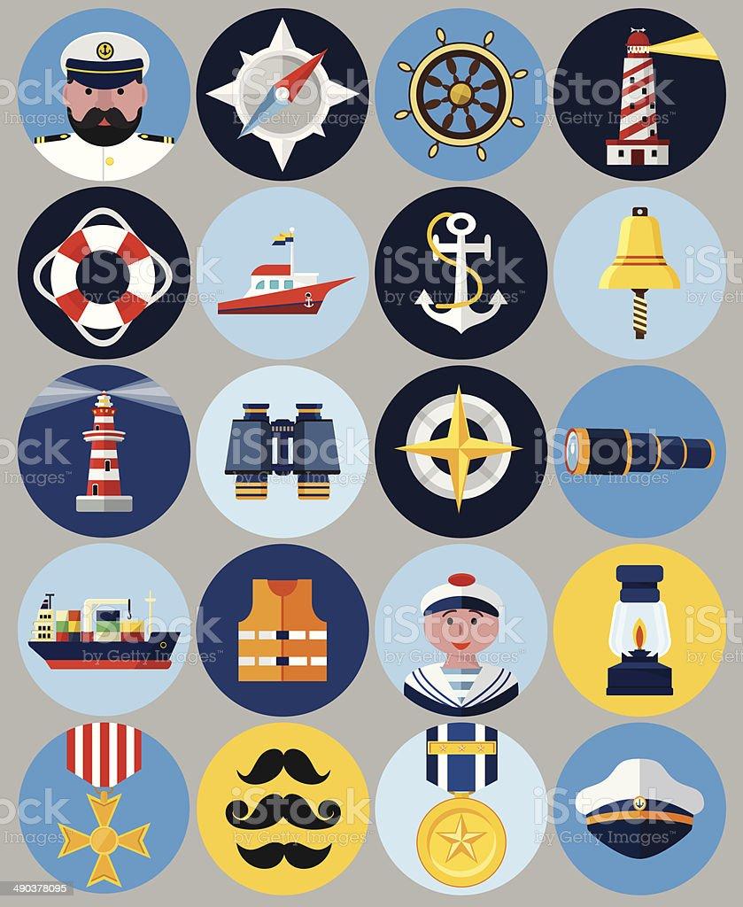Vector Flat Nautical Icons vector art illustration