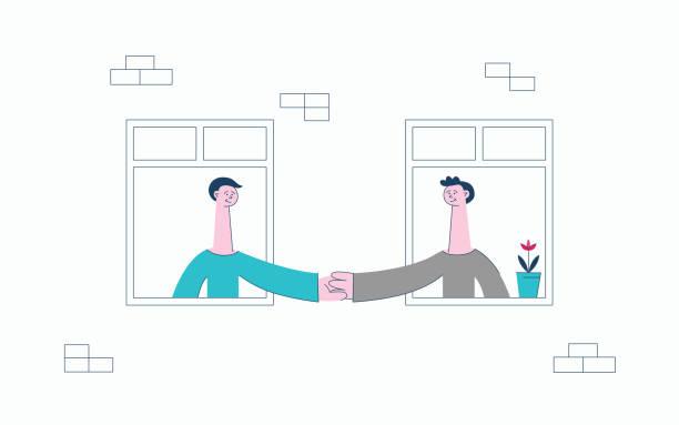 stockillustraties, clipart, cartoons en iconen met vector platte buurman kijken uit de ramen - buren