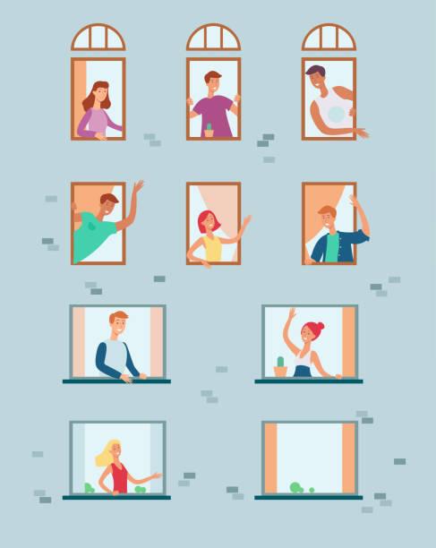 stockillustraties, clipart, cartoons en iconen met vector platte buren op zoek naar de ramen - buren
