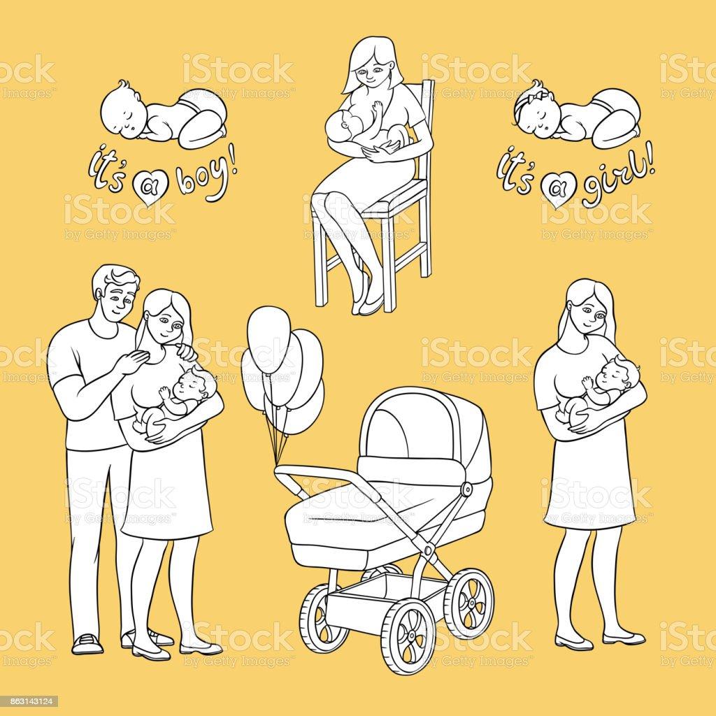Boyama Kitabı Için Düz Yeni Doğan Bebek Simgeler Vektör Stok Vektör