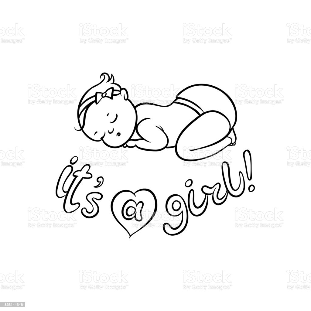 Vector flat newborn cute baby girl in diaper illustration