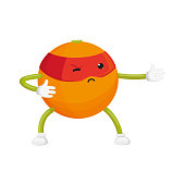 vector flat cartoon orange character in red mask standing like ninja. Isolated illustration on a white background. Funny humanized fruit and vegetable super hero protecting people health