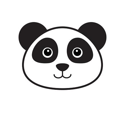 Vector flat outline panda face icon