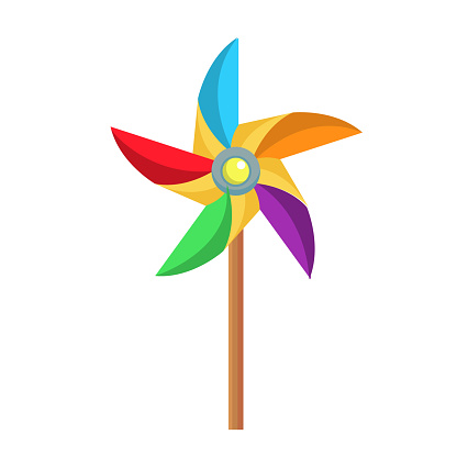 vector flat paper pinwheel, windmill toy icon