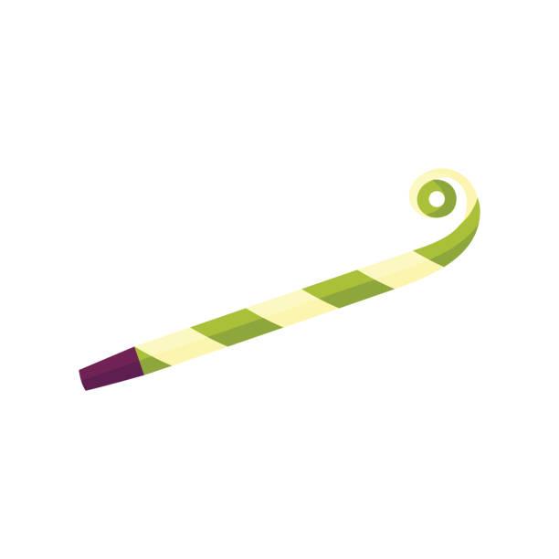 illustrazioni stock, clip art, cartoni animati e icone di tendenza di vector flat party blower, noisemaker, whistle icon - fischietto