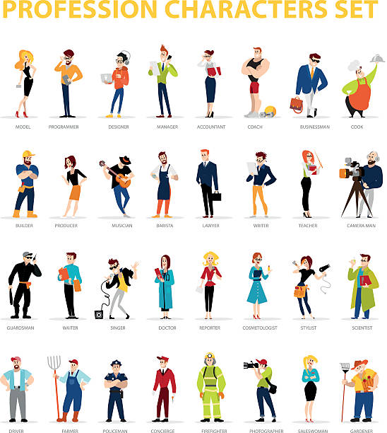 Vector flat people portraits collection isolated on white background. – Vektorgrafik