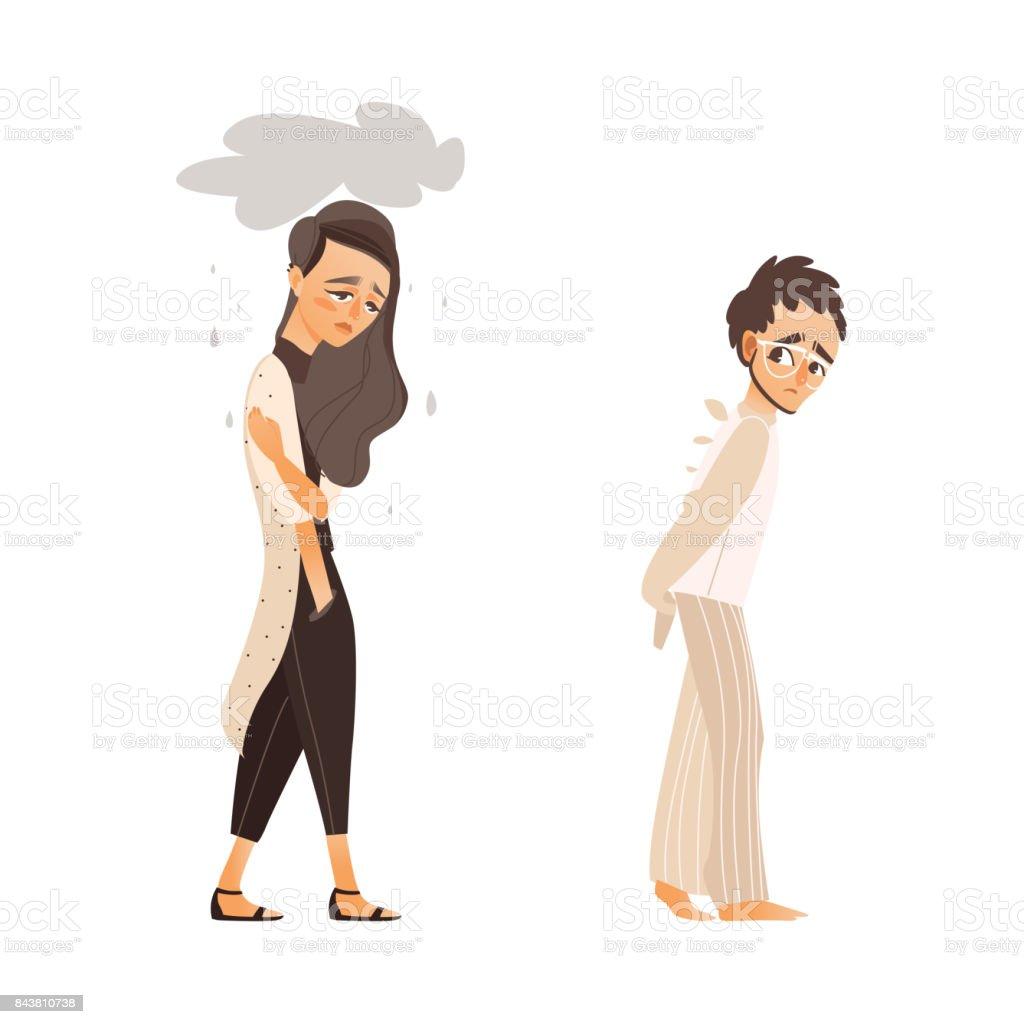 vector flat people suffering from mental illness set vector art illustration