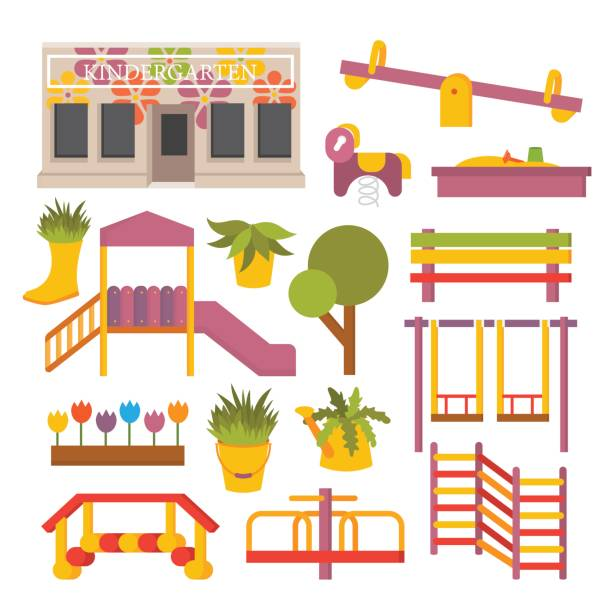 Vector flat playground Vector kindergarten preschool. Kids flat playground icon set. garden center stock illustrations