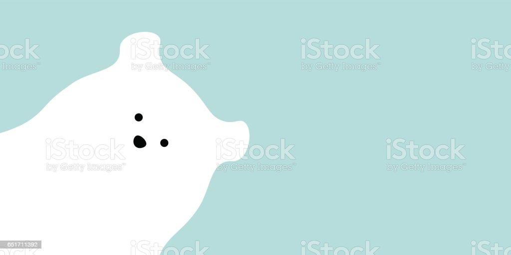 Vector flat polar bear illustration animal background. vector art illustration