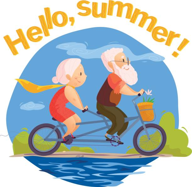 vector flat portrait of old cute loving couple riding double bicycle. - old man on bike stock illustrations, clip art, cartoons, & icons