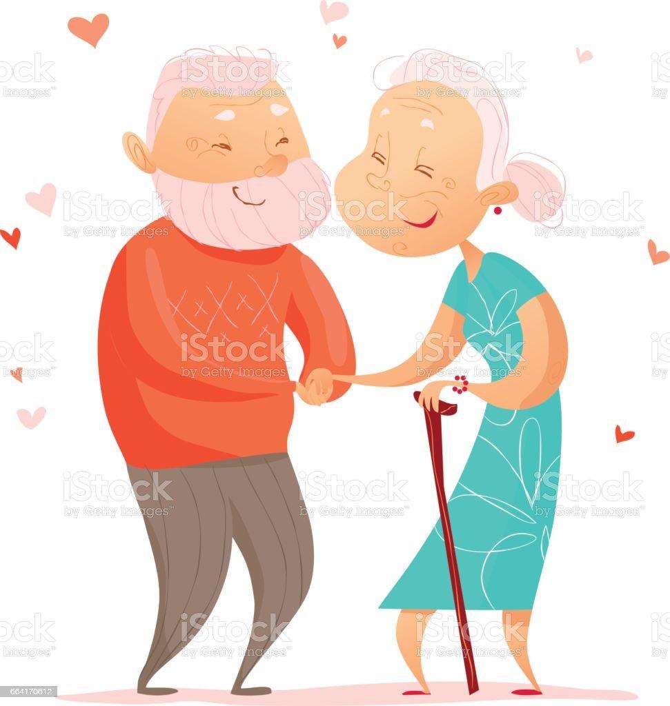 Retrato plano vectorial de vieja linda pareja amorosa - ilustración de arte vectorial
