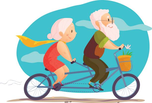 vector flat portrait of old cute loving couple - old man on bike stock illustrations, clip art, cartoons, & icons