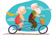 Vector flat portrait of old cute loving couple