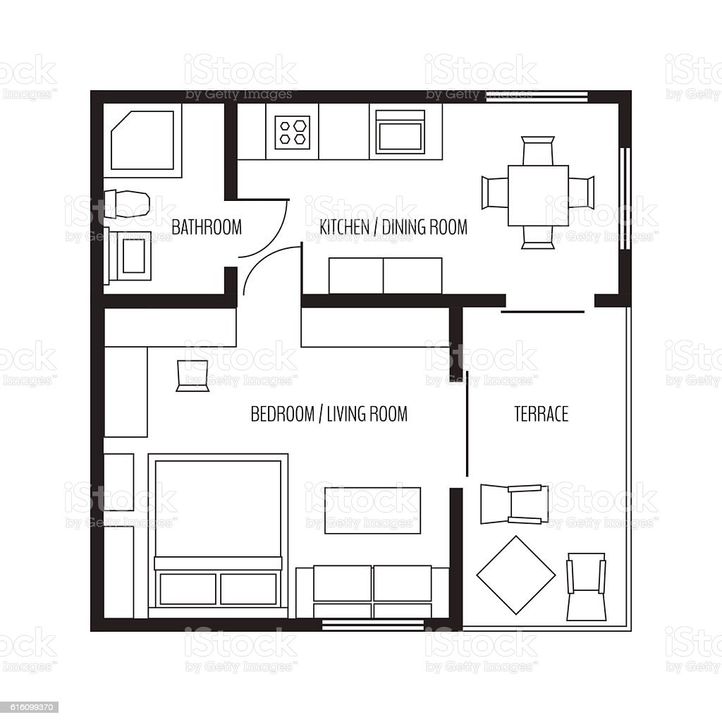 Vector Flat Projection Apartmentsmall House Plan With Furniture ...