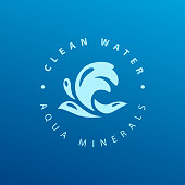 Vector flat pure water logotype isolated on dark blue background. Water waves emblem isolated. Aqua logo design. Natural clean eco water symbol, sign.