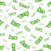 vector flat rain of dollars seamless pattern