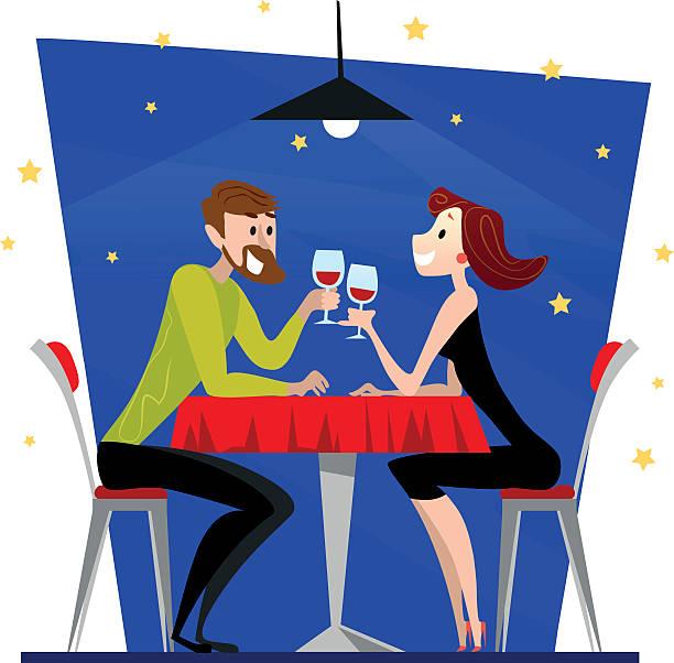 illustrazioni stock, clip art, cartoni animati e icone di tendenza di vector flat restaurant illustration. - dinner couple restaurant