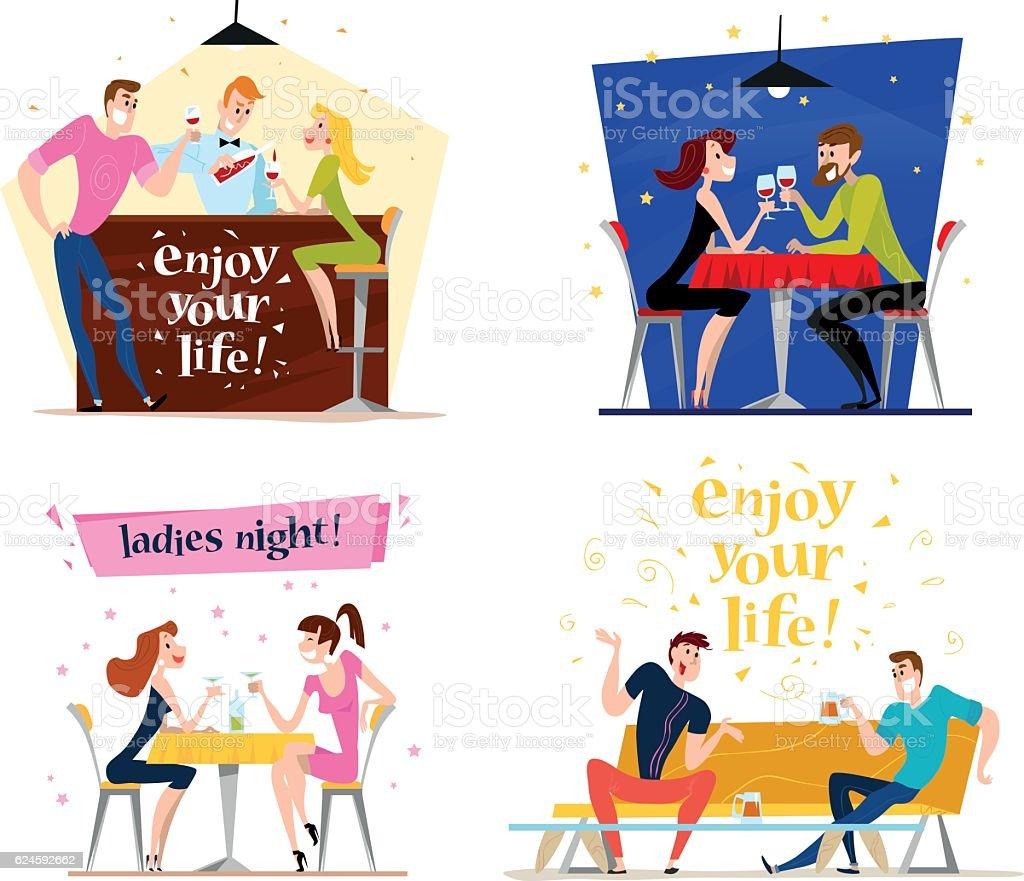 Vector flat restaurant people illustration. vector art illustration