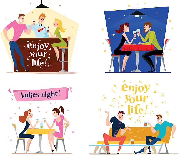 illustrazioni stock, clip art, cartoni animati e icone di tendenza di vector flat restaurant people illustration. - dinner couple restaurant