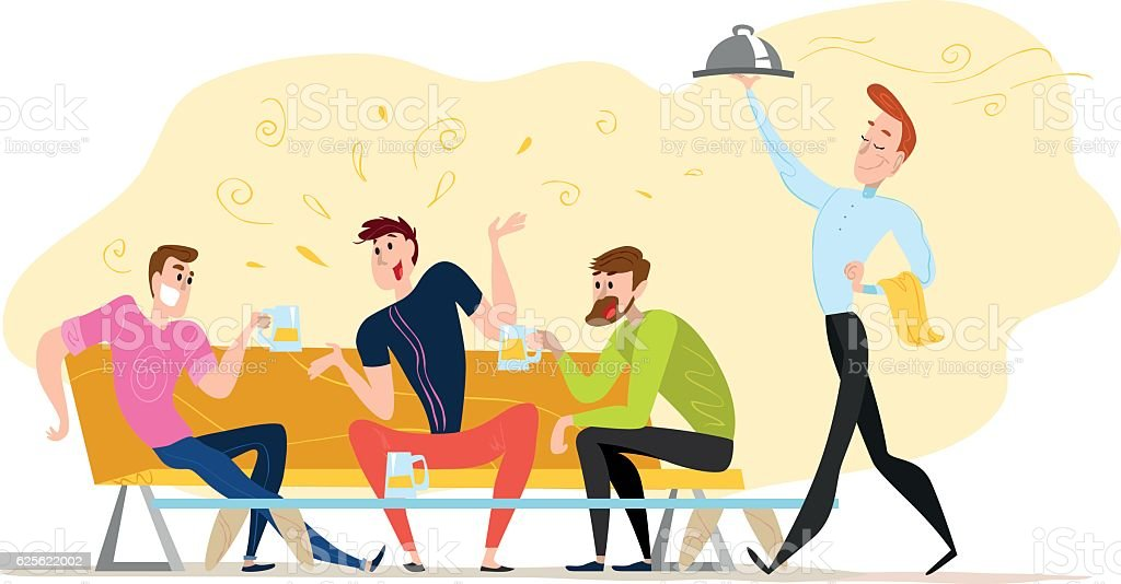 Vector flat restaurant people illustration. vector art illustration