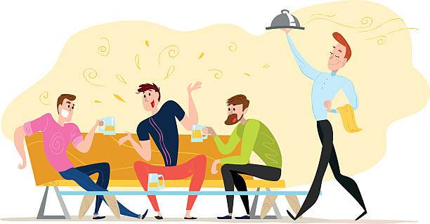 vector flat restaurant people illustration. - bachelor party stock illustrations, clip art, cartoons, & icons
