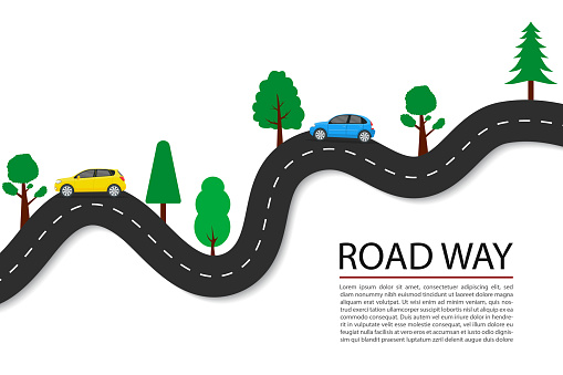 Vector flat road path with car, trees for journey. Asphalt highway line for speed transportation. Vehicle road trip with long horizon. Travel concept with traffic direction. Transport infographic.