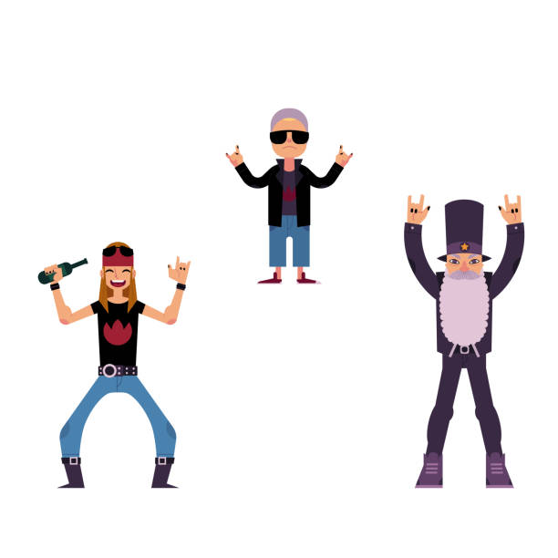 vector flat rock music people set. - old man in rocking chair cartoon stock illustrations, clip art, cartoons, & icons